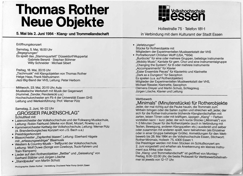 Ausstellung 1984, Programmheft-Text