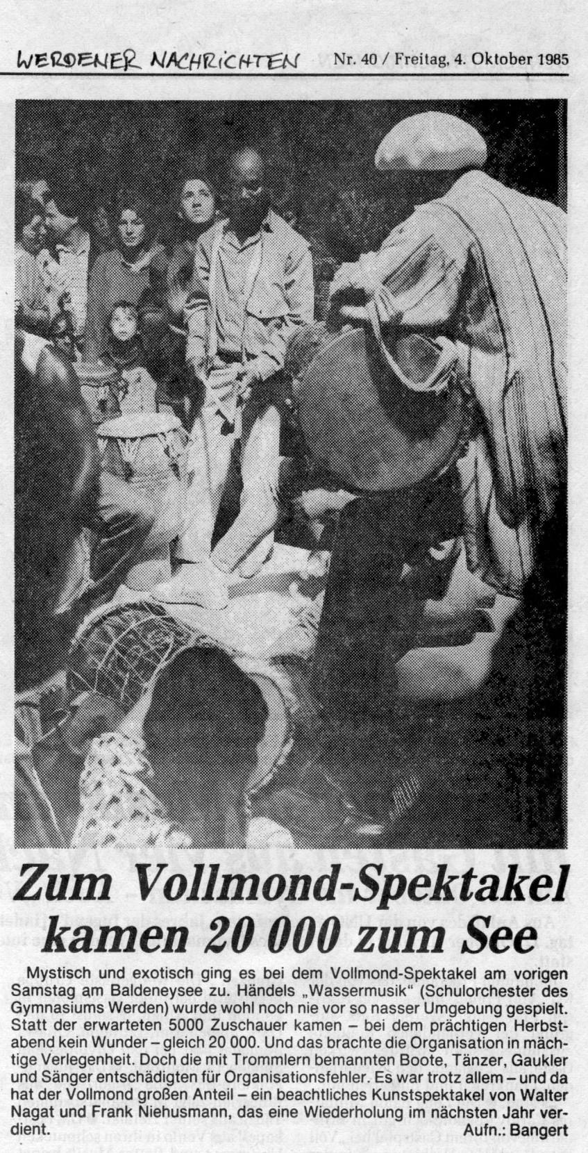 Bericht der Werdener Nachrichten 1985-10-04